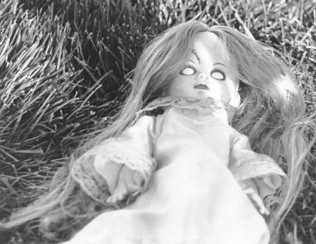 Doll out on grass