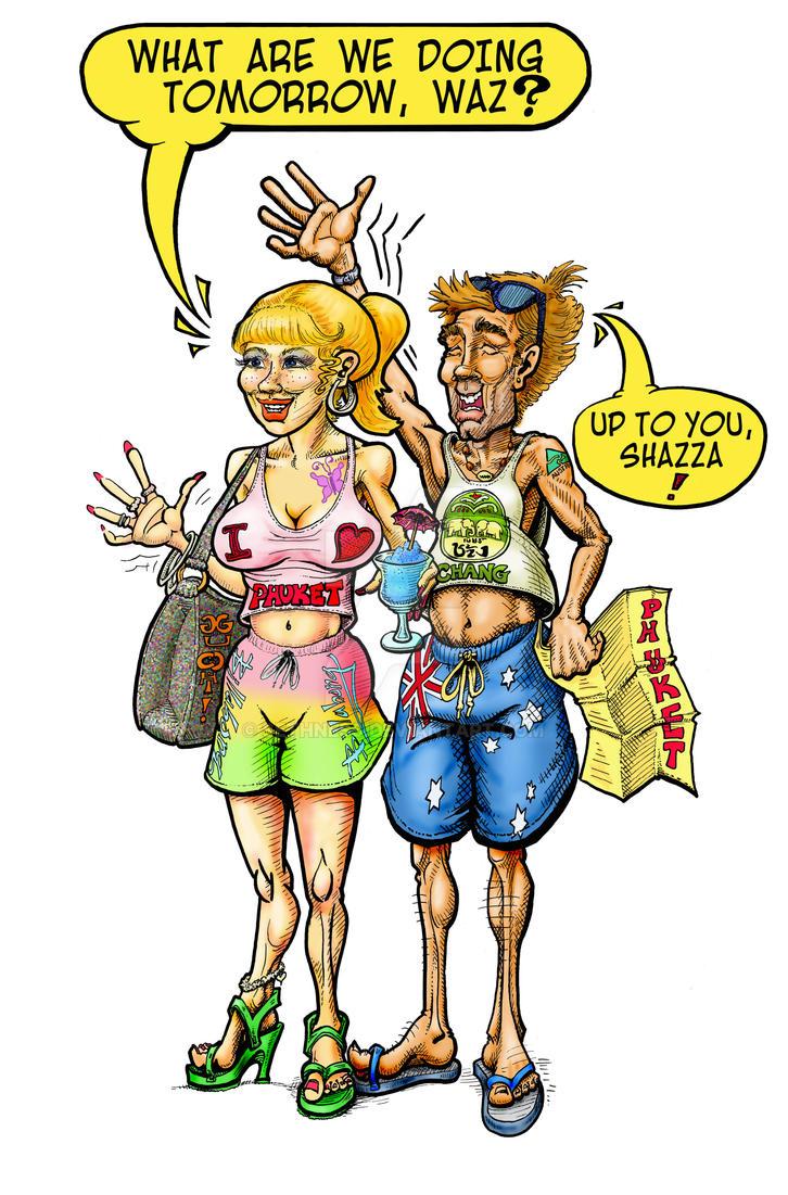 Australian Tourists Shazza and Waz by sethness