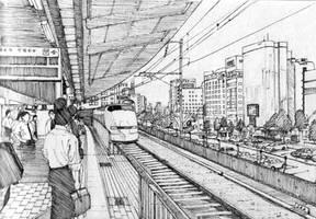 Shinkansen in Osaka, Japan by Edgeman13