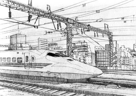 bullet train drawing shinkansen by e