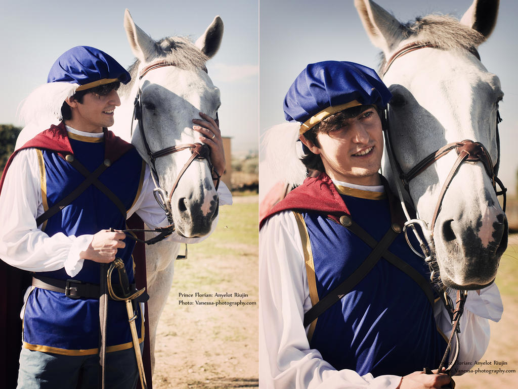 Prince Florian with his white horse by LeydaCosplay