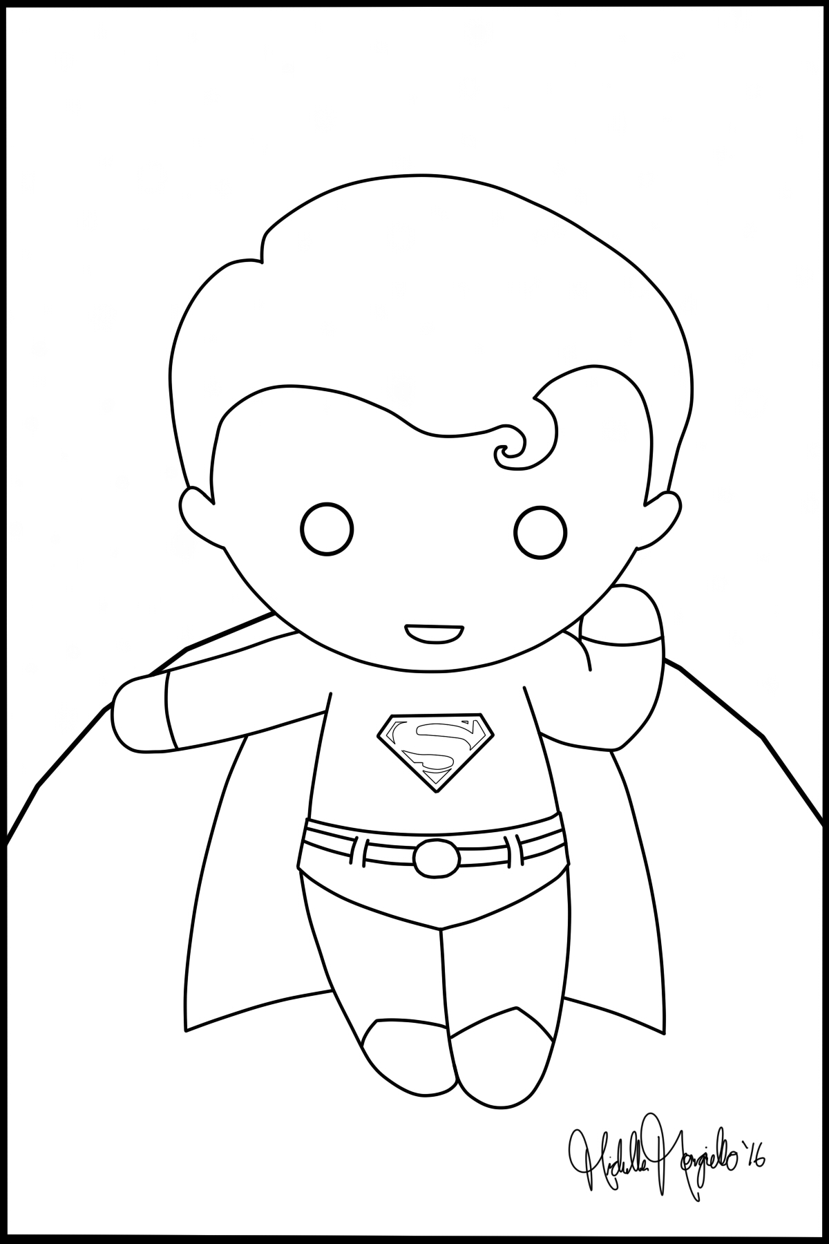 Coloring pages superman -  Chibi Superman Coloring Page By Kitty Stark