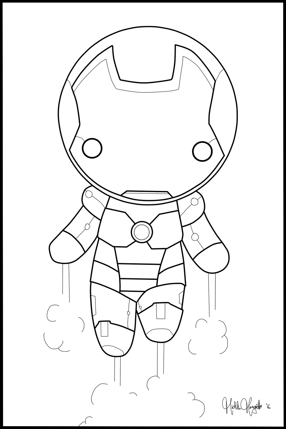 Coloring pages iron man -  Chibi Iron Man Coloring Page By Kitty Stark