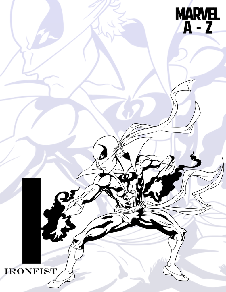 INKtober: MARVEL Heroes A-Z::Iron Fist by RockDeadman