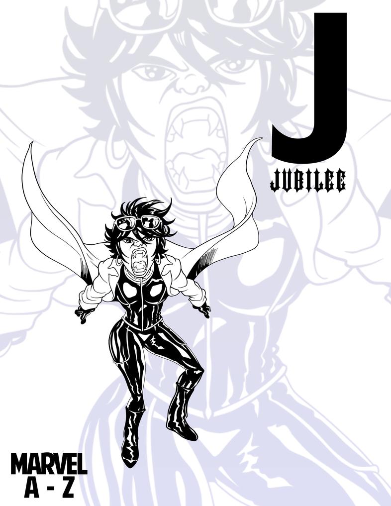 INKtober: MARVEL Heroes A-Z::Jubilee by RockDeadman