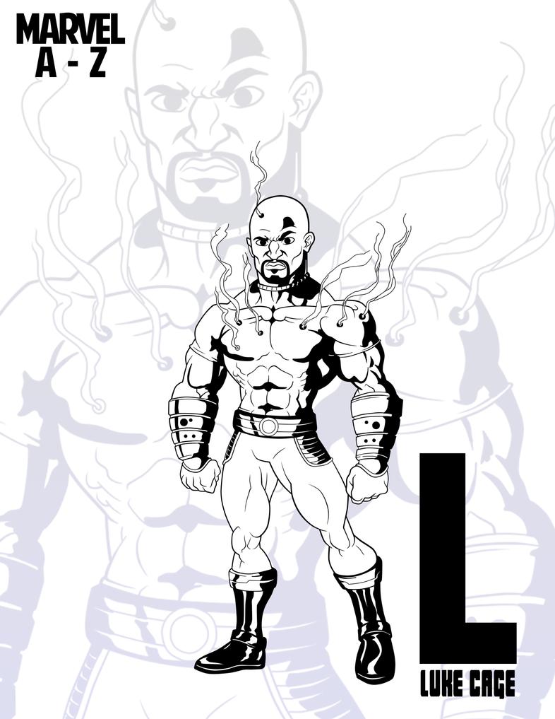 INKtober: MARVEL Heroes A-Z::Luke Cage by RockDeadman