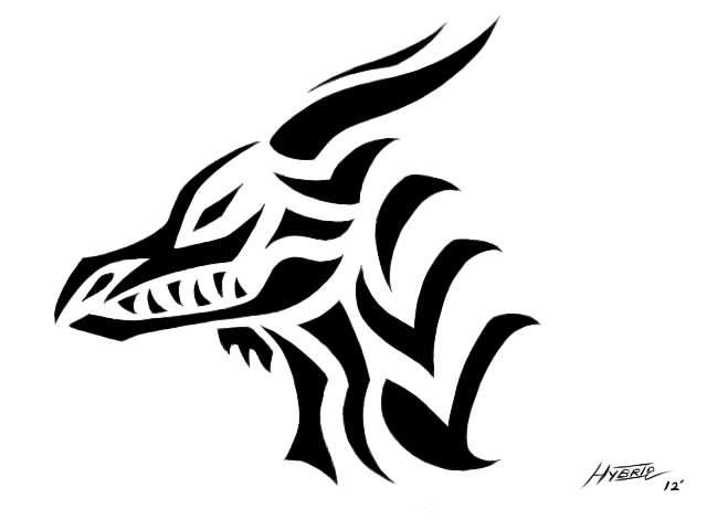 Tribal Dragon head by Hybrid-No1Tribal Dragon Head Designs