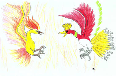 Ho-oh vs Moltres by BuckBowie