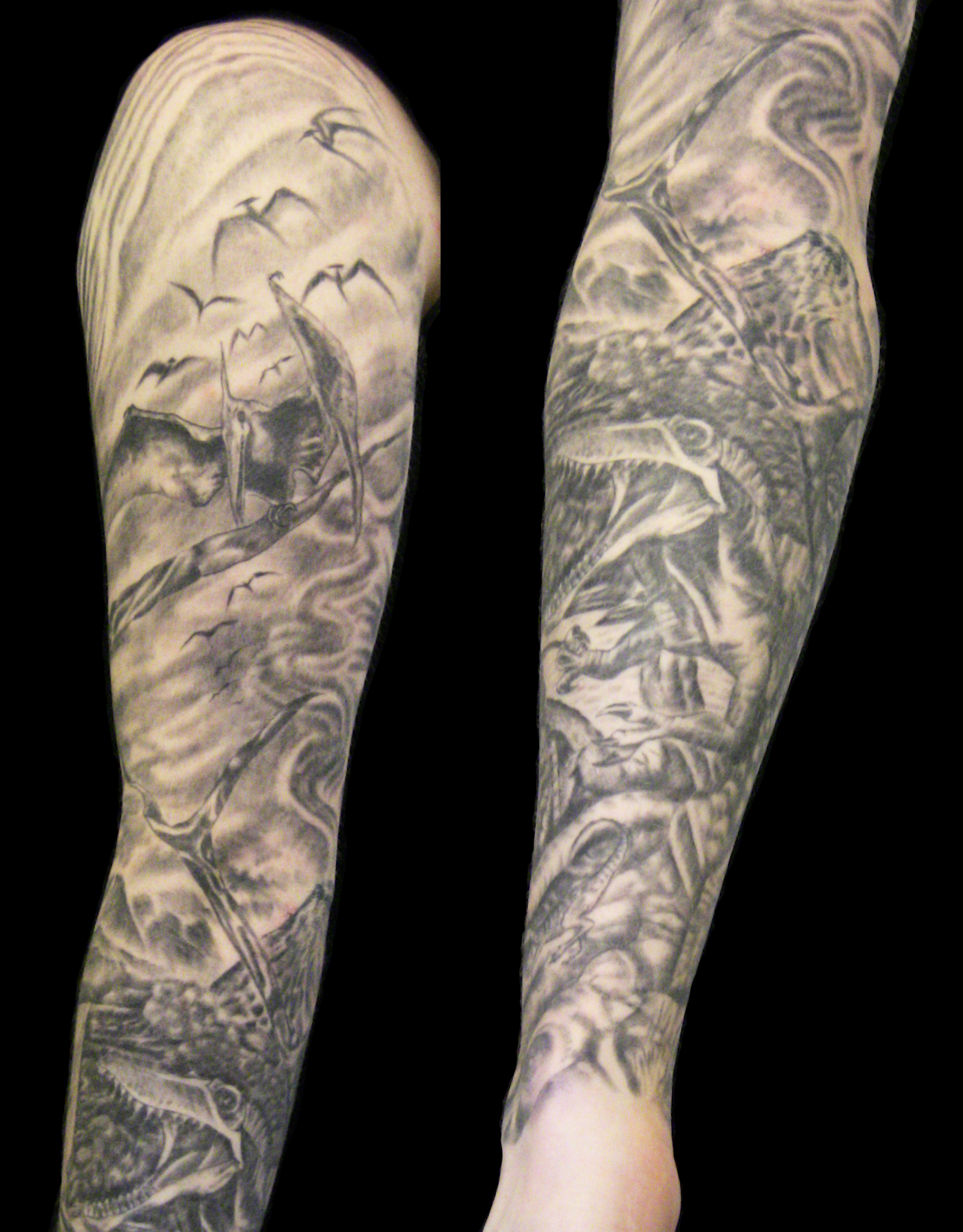 Sick Tattoo Sleeves Dinosaur Sleeve Part By Jesse Flip Degf