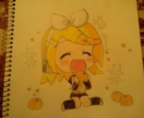 Chibi Rin eating oranges! :D by OtakuChicaa