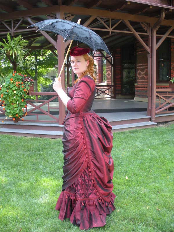 Ruby Taffeta 1880s Ensemble