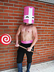 Pink Knight with happy face