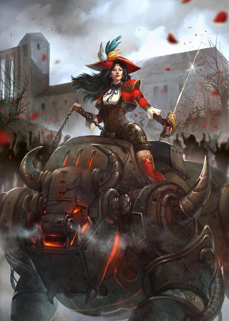 Steampunk Warrior Lady by AtelierRAN