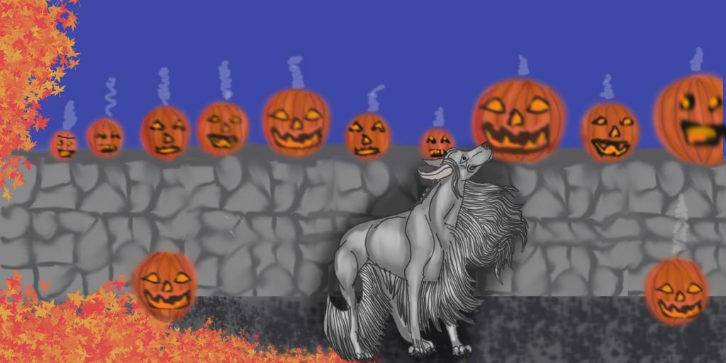 Ghost Amongst the Pumpkins by lighteningfox