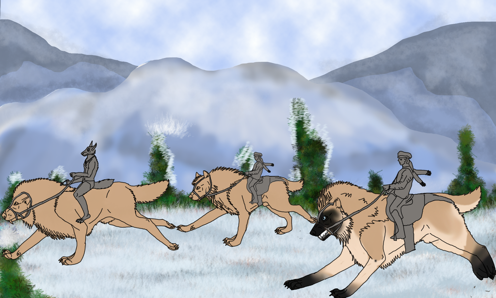 Pack Exploration in the snow WIP by lighteningfox
