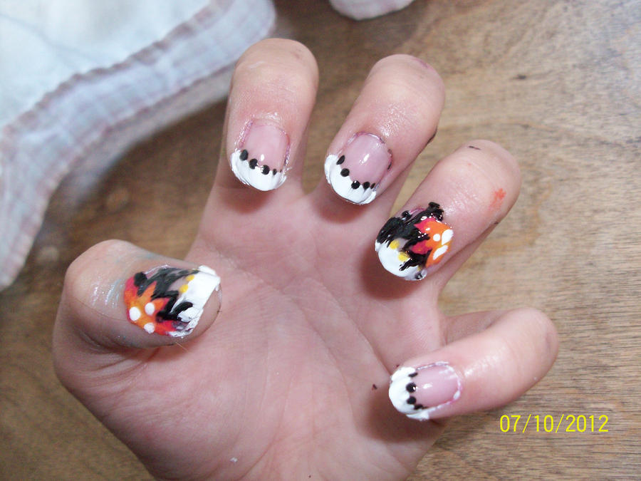 Designing Nails : Flower French Tips by ToxicTwista on DeviantArt