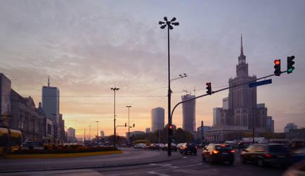 Warsaw sundown by Grzechool