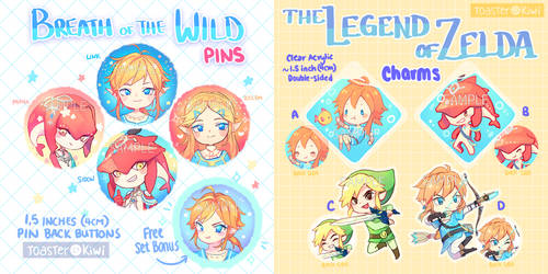 [Points Accepted] The Legend of Zelda charms+pins by ToasterKiwi