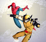 Spidey VS Wolvie by COLOR-REAPER