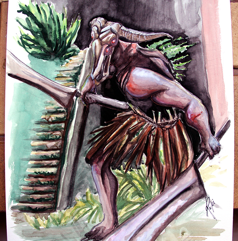 Capra Demon Watercolor Painting by WLimit