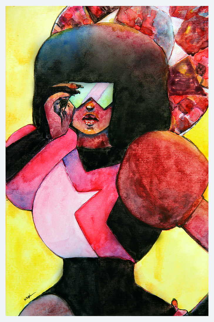 GARNET   THE BADDEST FEMALE she rocks, so i had to do a fan-paint of herrrrrr the paper didn't help, many stains on her clothes feelsbadman but at least i finished it and that behind her head ...