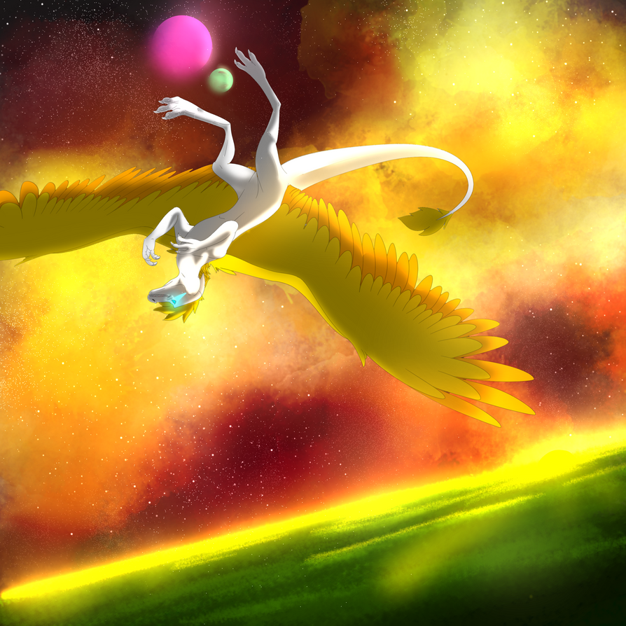 gliding over the sunset by SolinTheDragon