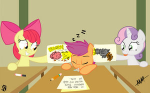 Cutie Mark Crusaders in: Classroom Follies COLORED