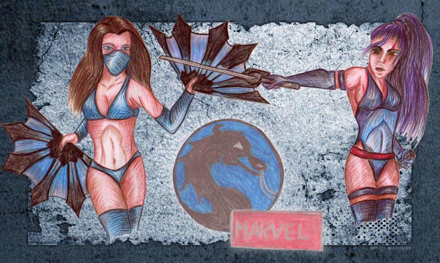 Kitana vs Psylocke by Wol4ica