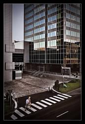 People crosswalk skyscraper by ink-gp