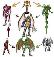Hexafusion - Power Rangers, Cthulhu, Metroid by Stark-liverbird