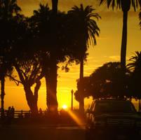 Santa Monica setting sun