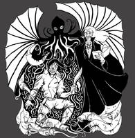 Pulp Mash-up:  Dracula and Cthulhu vs Frankenstein by NocturnalSea