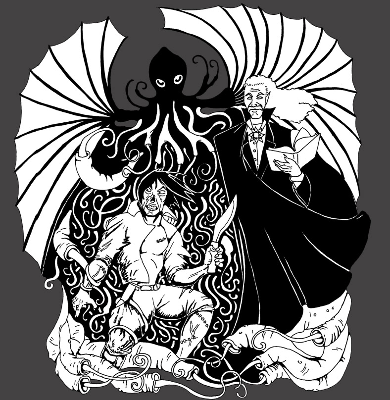 Pulp Mash Up Dracula And Cthulhu Vs Frankenstein By Nocturnalsea On