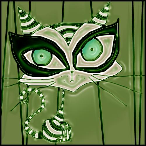 gato verde by psychokatt