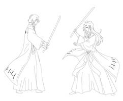 PP Commission - Byakuya vs Tsuki by Zanpakuto-Leader