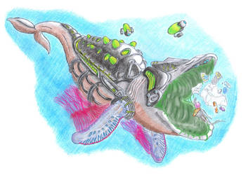 EcoWhale Plastic Digesting Synthetic Organism by biohazzart