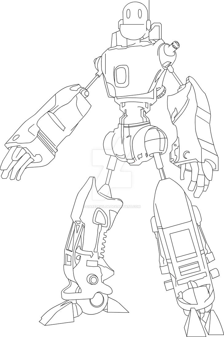 Line Art Robot : Super robot line art by daredevil on deviantart