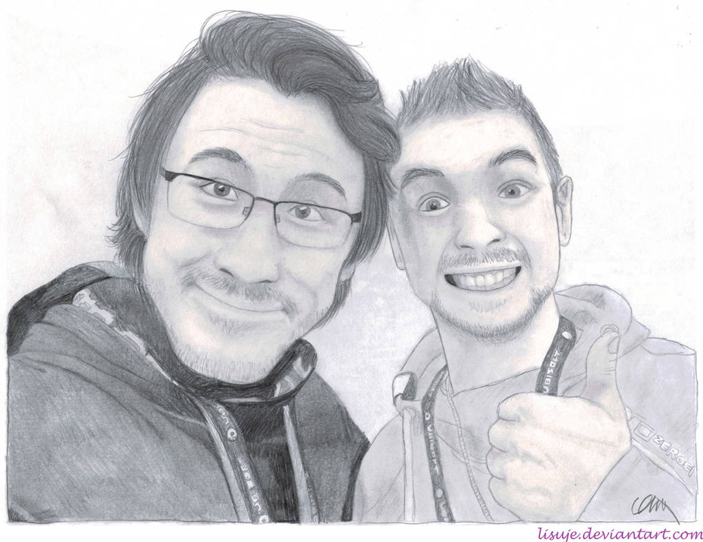 Jacksepticeye markiplier pencil sketch 1 by lisuje