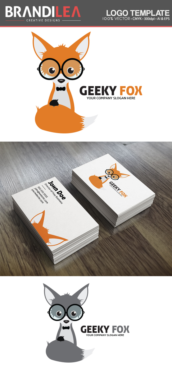 Geeky Fox Logo Template by Brandi-Lea