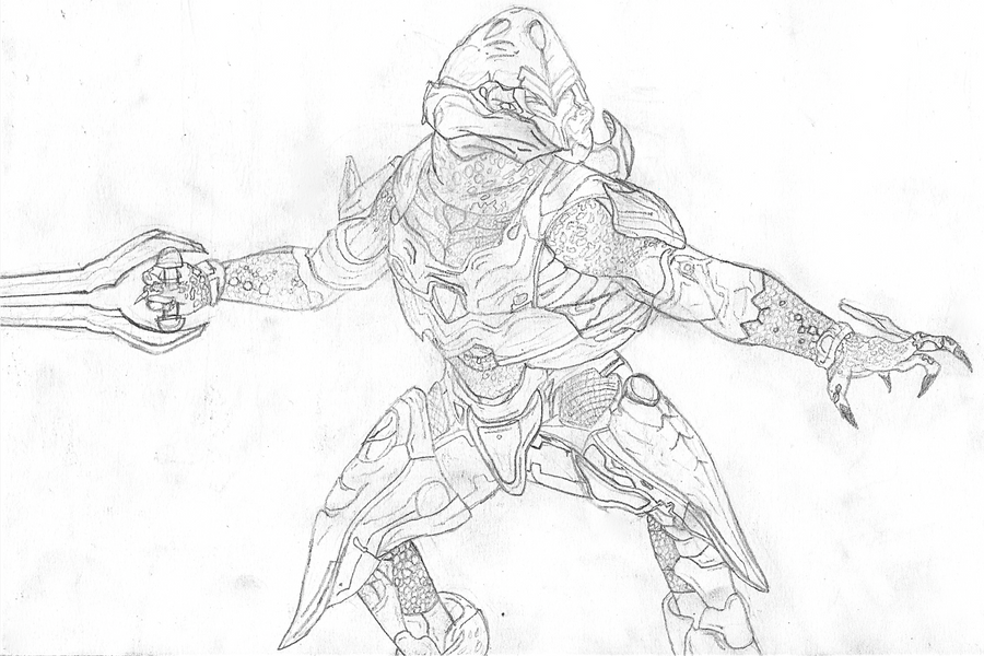 Halo Jackal Drawing Halo Elite Head