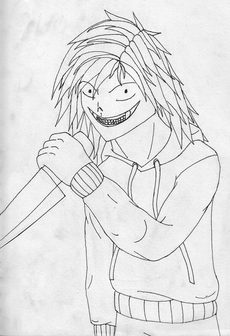 Jeff The Killer Anime Coloring Pages Sketch Page
