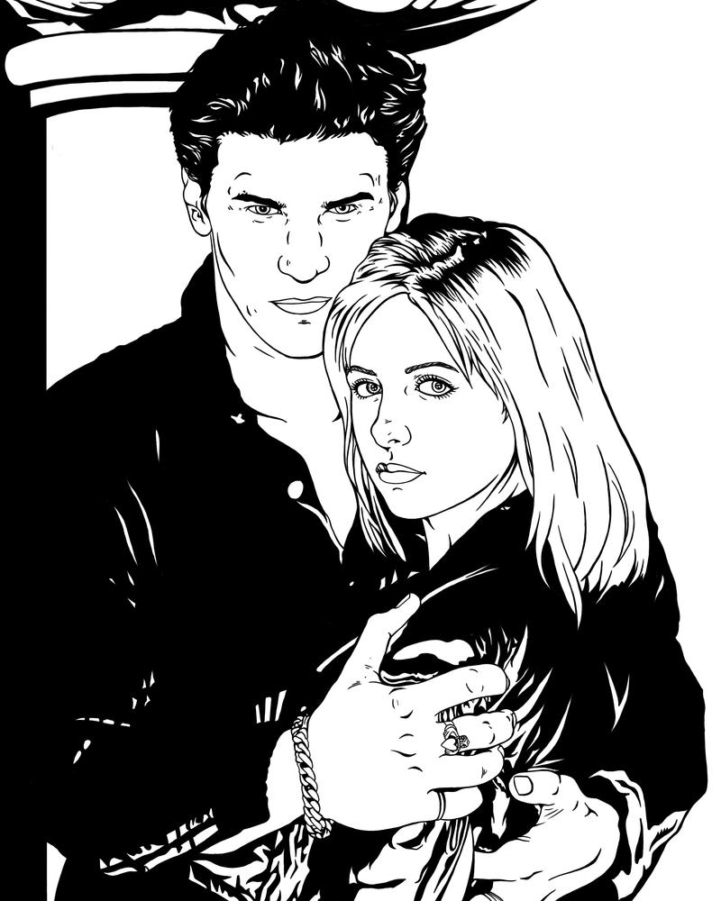 Buffy And Angel By Frostdusk On Deviantart Buffy The Vire Slayer Coloring Pages
