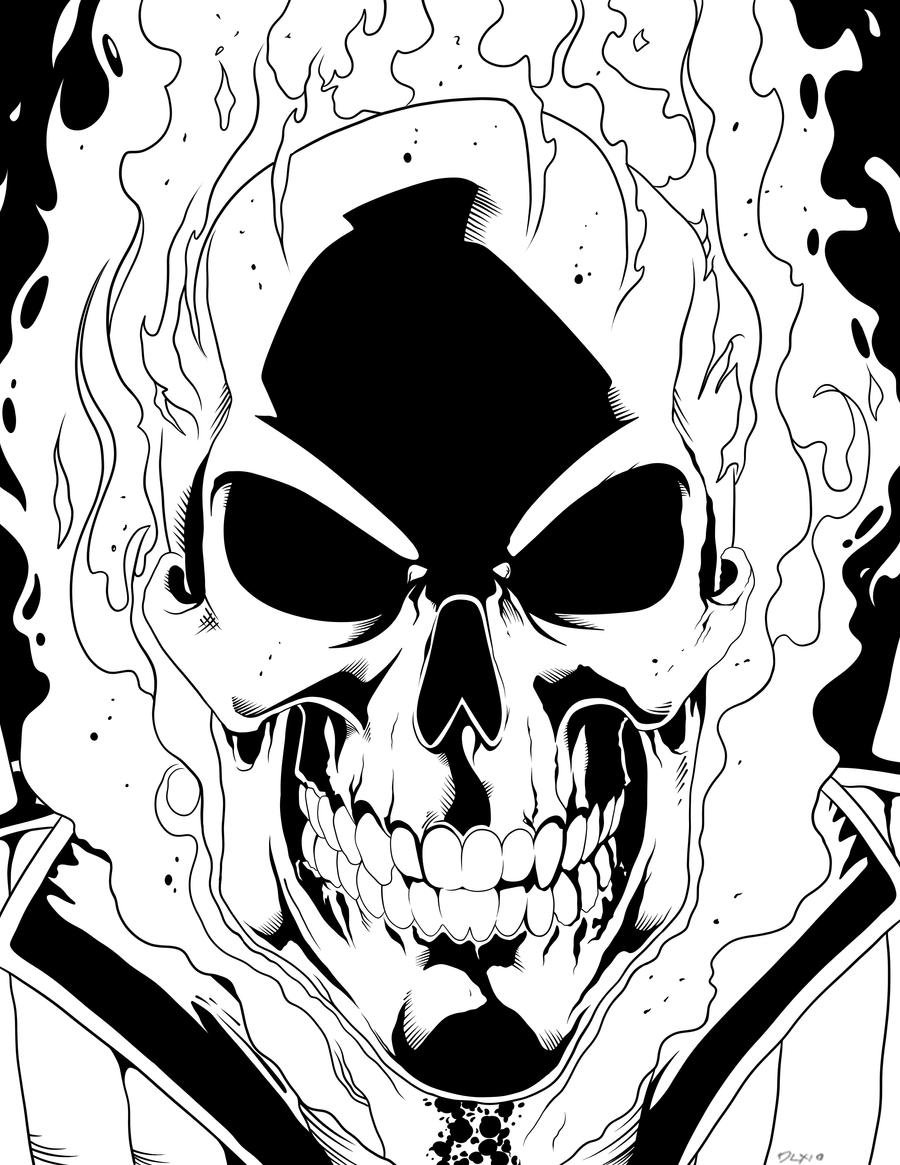Coloring Pages Ghost Rider Coloring Page Breadedcat Free