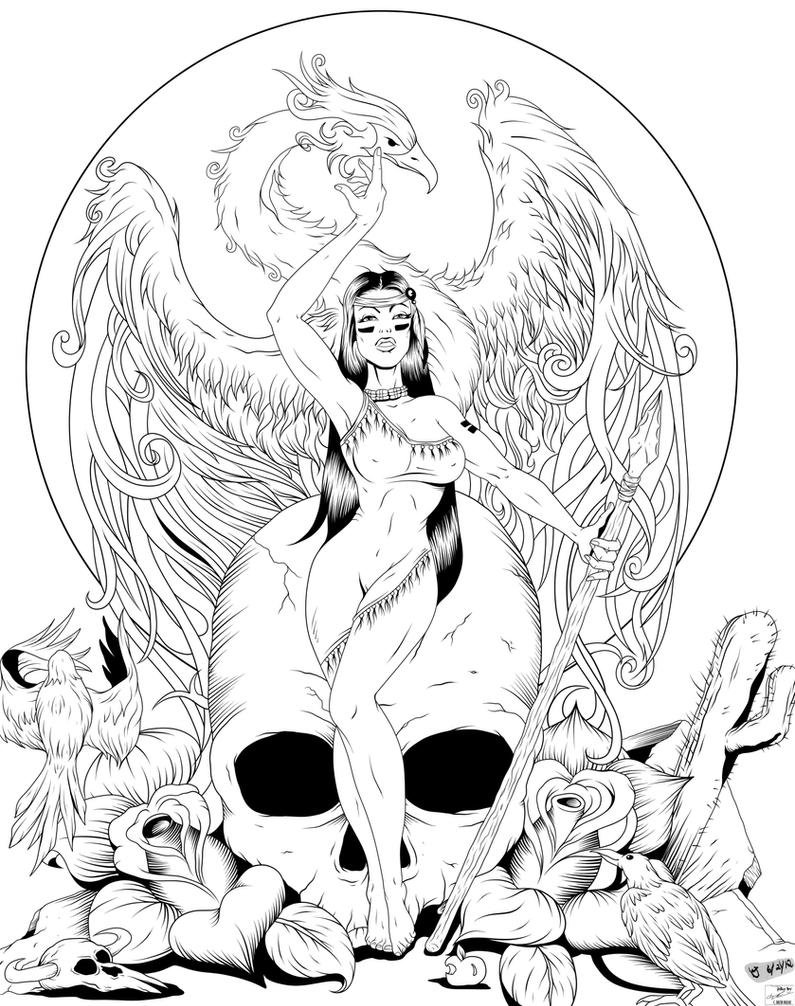 The Raven and Phoenix rising INKS by frostdusk
