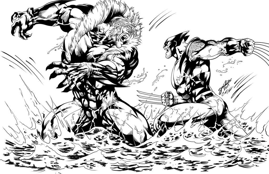 Wolverine vs Sabretooth INK by frostdusk