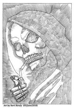 Smoking mysterious skull ghost