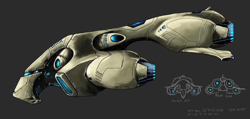protoss heavy fighter by highdarktemplar