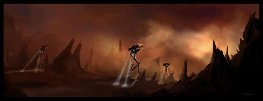 Protoss Titan patrol by highdarktemplar