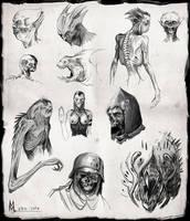 creature sketches by highdarktemplar