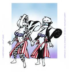 Two Little Patriotic Skunkettes.